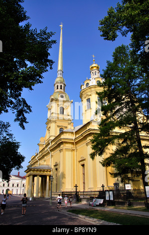 Der Glockenturm der Kathedrale St. Peter und Paul, Zayachy Insel, Sankt Petersburg, nordwestlichen Region, Russland - Stockfoto