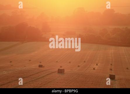 Strohballen in einem Feld auf der South Downs in der Nähe von Wilmington, East Sussex, England. - Stockfoto