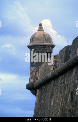 Garita auf Castillo San Fleipe del Morro, Old San Juan, Puerto Rico - Stockfoto