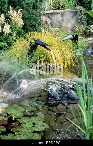 Wassergarten mit lustigen Vogel Brunnen, Frösche speienden Ströme im Gartenteich mit Pflanzen Dickten Ziergräser - Stockfoto