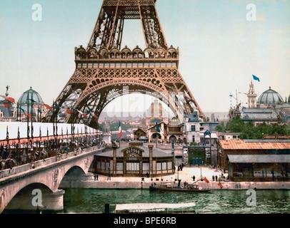 Eiffelturm und allgemeinen Blick auf den Garten, Universal Exposition 1900, Paris, Frankreich - Stockfoto