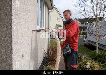 Mann Füllung Zweischalige Wand mit Wärmedämmung, Devon - Stockfoto