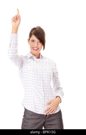 Junge glücklich Geschäftsfrau zeigt Richtung, isoliert auf weiss - Stockfoto