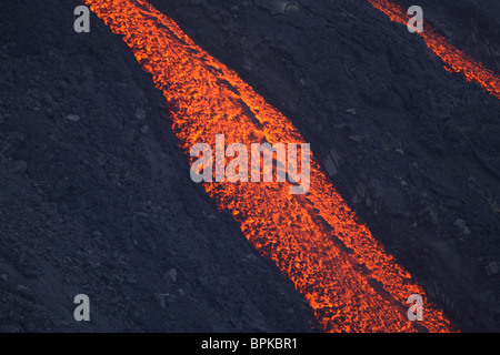 2. März 2007 - Stromboli Lava flow, Äolischen Inseln, nördlich von Sizilien, Italien. - Stockfoto