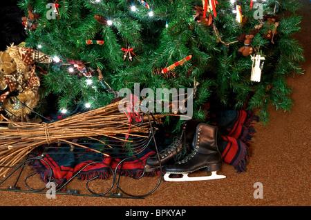 Das Foto zeigt einen Weihnachtsbaum dekoriert mit Lichter vor dem ...