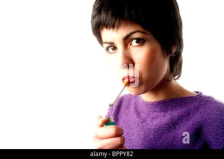 Ein Mädchen Rauchen - Stockfoto