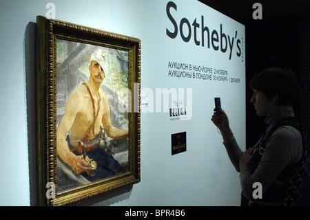 Sotheby's Pre-Auktion Anzeige im Moskauer historischen Museum - Stockfoto