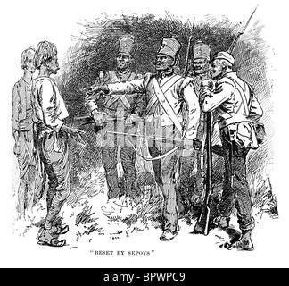 Thomas Henry Kavanagh VC getarnt als ein Eingeborener von Aufständischen Sepoys während der indischen Meuterei konfrontiert - Stockfoto