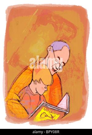 Ein Großvater und Enkel, ein Buch zu lesen - Stockfoto