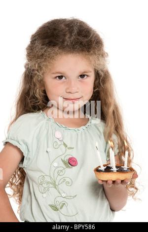 Kleines m dchen mit wei er schokolade stockfoto bild for Kuchenstudio essen