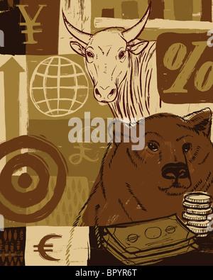 Ein Bär und ein Stier mit Währungssymbole im Hintergrund - Stockfoto