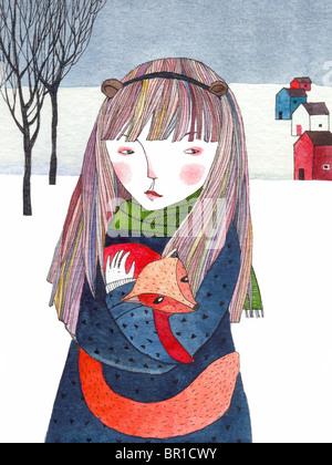 Ein Mädchen hält ein Fuchs in einer verschneiten Landschaft - Stockfoto