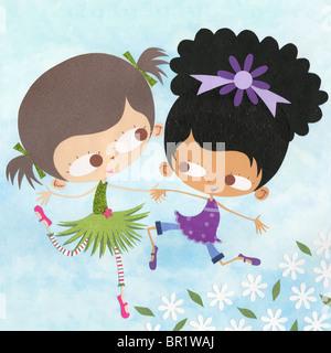 Ein Scherenschnitt Abbildung von zwei Mädchen spielen im Freien rund um Blumen - Stockfoto