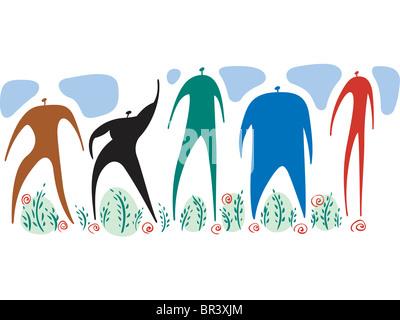 Männer von verschiedenen Farben, Formen und Größen, die zusammen stehen - Stockfoto