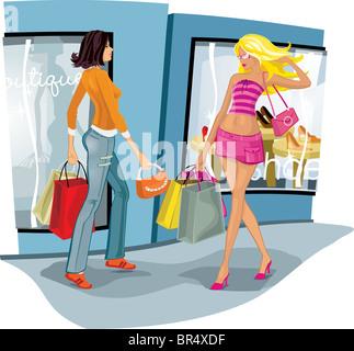 Frauen mit Händen voller Taschen einkaufen - Stockfoto