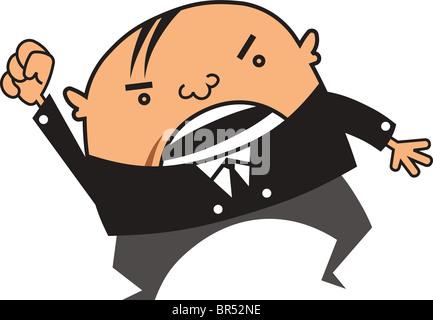 Wütend Geschäftsmann seinen Arm hochhalten - Stockfoto