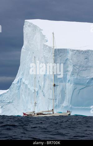 """SY """"Adele"""", 180 Fuß Hoek Design, erkunden einen tabellarische Eisberg in der Bransfield Strait, 17. Januar 2007 - Stockfoto"""