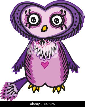 Ein lila Eule Vogel mit einem Herz auf der Brust - Stockfoto