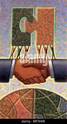 Handshake mit Globus - Stockfoto