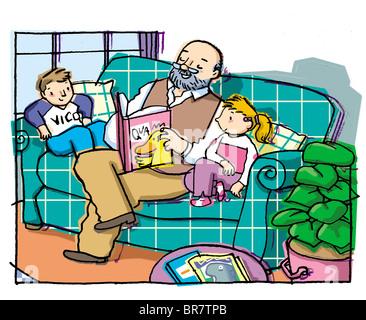 Opa liest ein Buch zu seinen Enkeln - Stockfoto