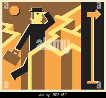 Ein Geschäftsmann durch ein Labyrinth laufen - Stockfoto