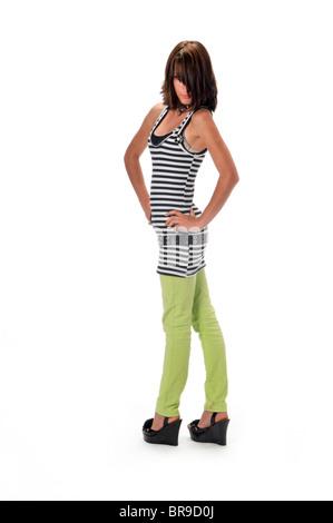 Teen Mädchen auf weißem Hintergrund - Stockfoto
