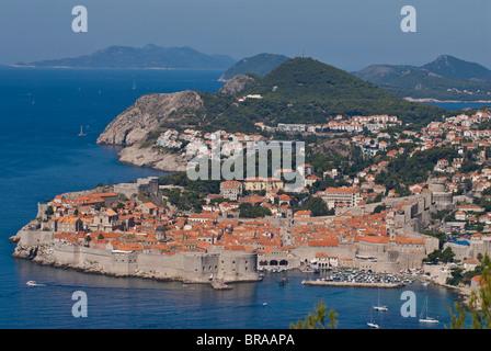 Blick über die Altstadt von Dubrovnik, UNESCO-Weltkulturerbe, Kroatien, Europa - Stockfoto