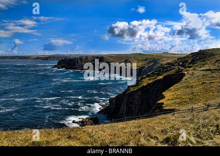 Südlichsten Zipfel von England Lands End in Cornwall Klippen und das Meer am Zipfel des Landes - Stockfoto