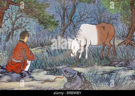 Gemälde von herding Rind, aus den zehn Ox Herding Bilder des Zen-Buddhismus, Seoul, Südkorea - Stockfoto