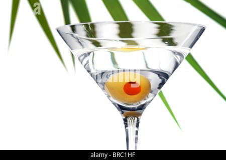 Eine Olive Martini mit einem Plam Wedel geben ein schönes tropisches Flair - Stockfoto