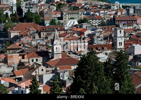 Ansicht von Sibenik aus St. Michael Festung, Dalmatien, Kroatien - Stockfoto