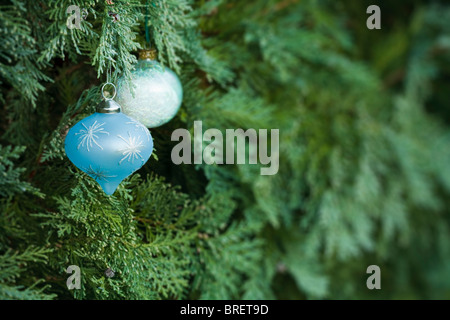 Weihnachtsschmuck in einen echten Weihnachtsbaum mit vielen textfreiraum hängen - Stockfoto