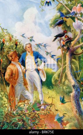 Kapitän James Cook und Botaniker Joseph Banks Untersuchung der Flora und Fauna in der Botany Bay, Australien. Kapitän - Stockfoto