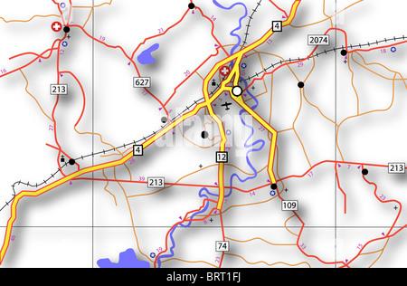 Abbildung einer generischen Straßenkarte mit Schatten - Stockfoto