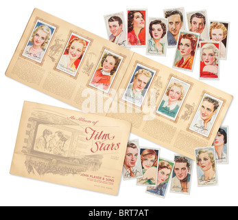 Album von Zigarette Karte Porträts von Filmstars, ausgestellt im Jahre 1938 - Stockfoto