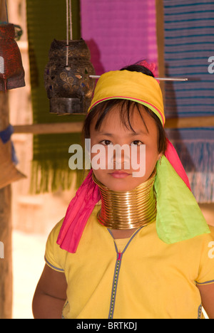 Langhals-Mädchen in Nordthailand - Stockfoto