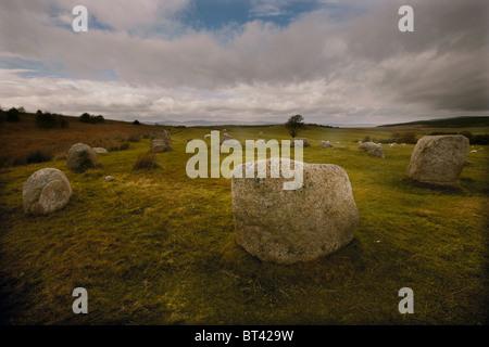 Die Überreste der Fingal Kessel stehend Steinkreis auf Machrie Moor, Isle of Arran, Scotland, UK - Stockfoto
