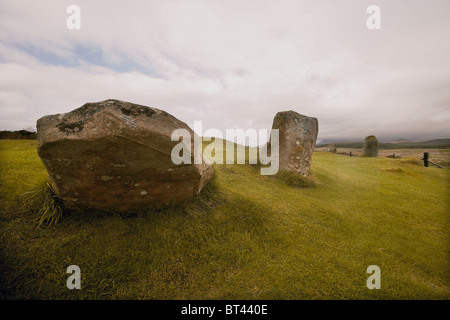 Die Moss Farm Road Menhire und Buriel Cairn Machrie, Isle of Arran, Scotland, UK - Stockfoto