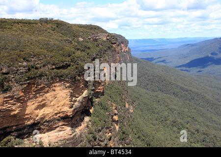 Des Königs Tableland gesehen vom Prinzen Rock Lookout, Blue Mountains National Park, New-South.Wales, Ost-Australien, - Stockfoto