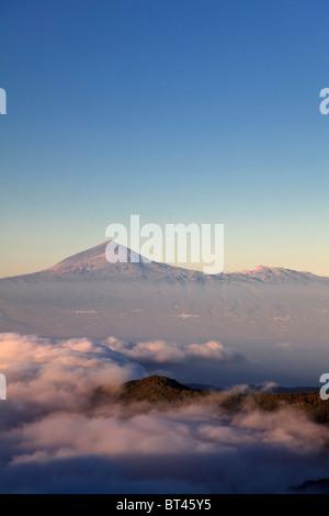 Kanarische Inseln, La Gomera, Garajonay-Nationalpark (UNESCO-Website), Blick auf der Insel Teneriffa und Mt Teide - Stockfoto