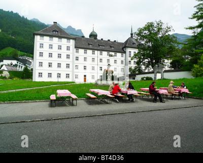 Der Schweiz Engelberg Alpen Berg Landschaft Kloster Käse Seilbahn Tramway heben Antenne Gipfel Dorf Gletscher Schönheit - Stockfoto