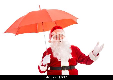 Foto des glücklichen Weihnachtsmann mit rotem Dach isoliert - Stockfoto
