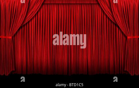 Großen roten Theatervorhang mit Licht und Schatten - Stockfoto
