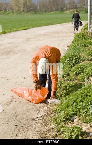 Abholung Müll im freien - Stockfoto