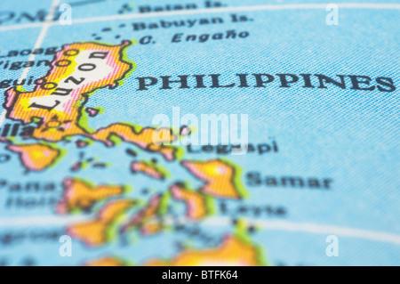 Asien Länder Karte.Philippinen Markierung Auf Karte Asien Länder Stockfoto Bild