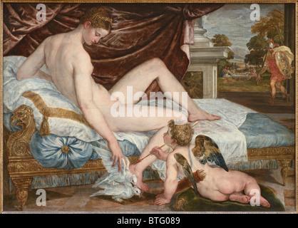 Venus und Liebe. Öl auf Leinwand, um 1550, niederländischen Malers Lambert Sustris, Louvre Museum in Paris - Stockfoto