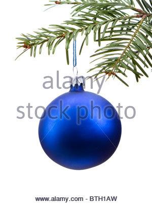 Weihnachten zweig der blauen von christbaumkugeln vor schneewei em hintergrund stockfoto bild - Blaue christbaumkugeln ...