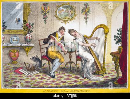 Harmonie vor der Ehe. Eine junge Frau und ein modisch gekleideten jungen Mann ein Duett singen. Die Frau spielt - Stockfoto