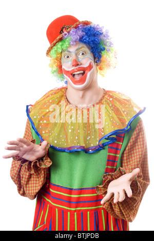 lustiger clown isoliert auf weiss stockfoto bild 92200021 alamy. Black Bedroom Furniture Sets. Home Design Ideas