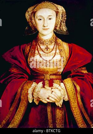 Königin Anna von Kleve (1515-1557), vierte Frau von Heinrich VIII. Porträt von Hans Holbein dem jüngeren, 1539. - Stockfoto